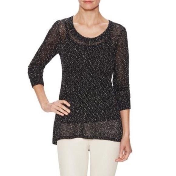 Eileen Fisher Speckled Open Knit Sweater